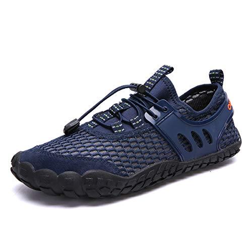 DUORO Męskie buty do chodzenia boso, trekkingowe, antypoślizgowe, oddychające, outdoorowe buty do fitnessu, buty z siateczki, buty do wody, granatowy - granatowy - 47 EU