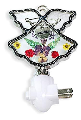 Angel Nightlight - Pressed Flower Angel Night Light with Silver Heart Engraved Grandma Charm - Grandmother Gifts