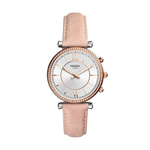 Fossil Women's 36mm Carlie Stainless Steel and Leather Hybrid Smart Watch, Color: Rose/Silver, Pink (Model: FTW5039)