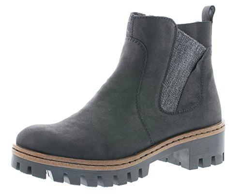 Rieker Damen Chelsea Boots 75754,Frauen Stiefel,Halbstiefel,Stiefelette,Bootie,Schlupfstiefel,hoch,Blockabsatz 4.6cm,schwarz/anthrazit, EU 42