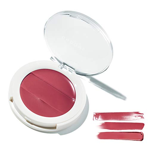 3-in-1 Lip + Cheek Cream. Coconut Extract for Radiant, Dewy, Natural Glow - UNDONE BEAUTY Lip to Cheek Palette. Blushing, Highlighting & Tinting. Sheer to Opaque Color. Vegan & Cruelty Free. DAHLIA