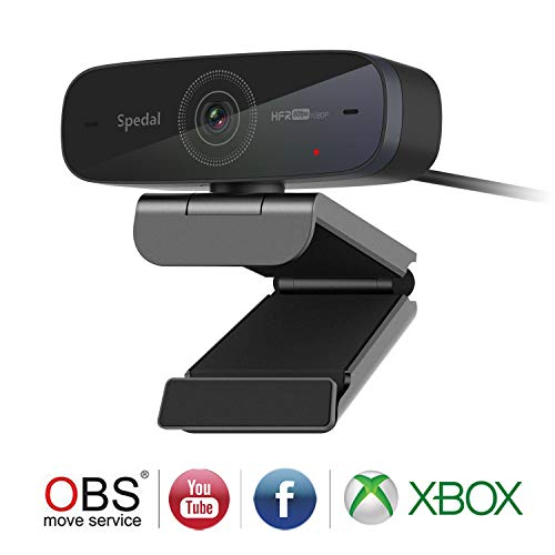 Spedal Stream Webcam 1080P 60fps, Dos Micrófonos Estéreo, Enfoque Automático Streaming Cámara Web para Xbox OBS XSplit Skype Facebook, Compatible con Linux Mac OS Windows 10/8/7