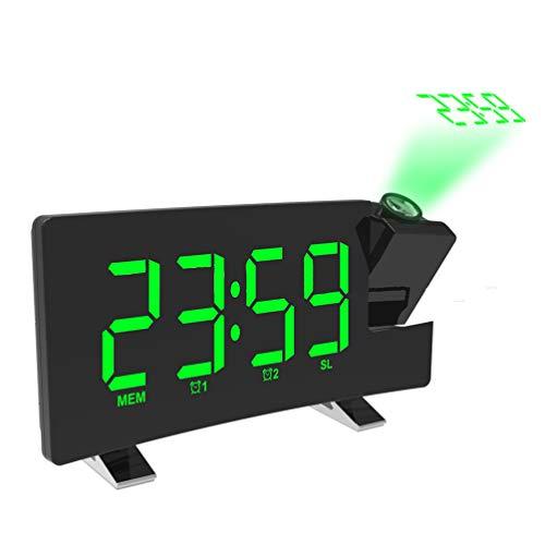 Radio-projectiewekker, groot beeld-LED digitale klok met automatische verduistering, elektronische klok met AM FM-radio, slaaptimer, 180 ° projector, dubbele wekker, laden via USB groen