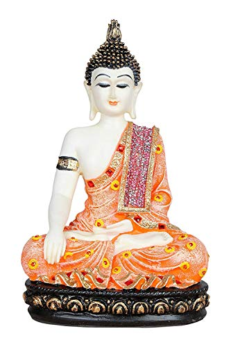 Indian Decor & Attire - Estatua de Buda sentado (27 cm), color naranja y blanco con piedras de color