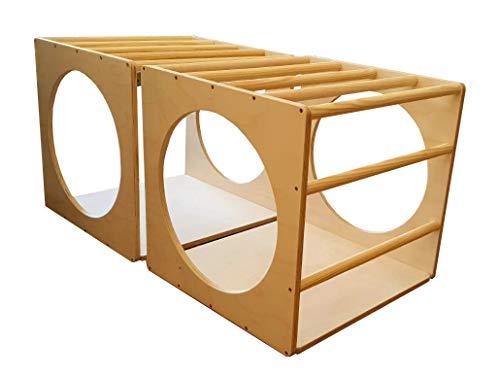 Mami – Cubo de Pikler   Estructura para escalada   Juego educativo para niños de madera con túnel y mesa   100% fabricado en Italia   Color madera