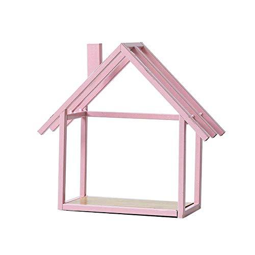 hong Wu 1 St. Wandregal Aus Holz Schwebenden Kubus Haus Wandregale Nordic-Art-Haus-Wand Hängende Dekoration (pink)
