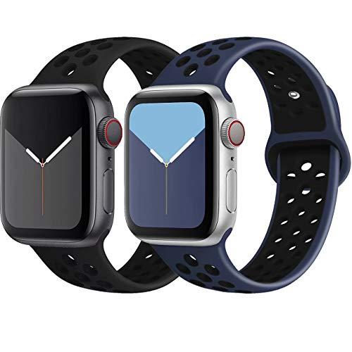 INZAKI Kompatibel mit Apple Watch Armband 42mm 44mm,weich atmungsaktives Silikon Sport Ersatzband für Armband für iWatch Serie 5/4/3/2/1,Nike+,Sport,wasserdicht,S/M,BlackBlack/Blueblack