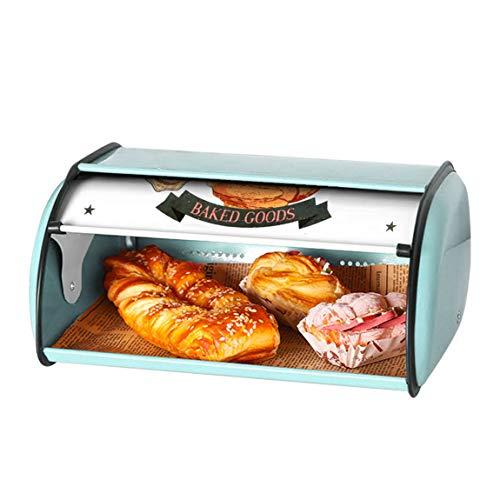 NIUPSKY Brotkasten Brotbox zur Lagerung von Gebäck & Kuchen Hochwertige Brotdose für die Küche Metall Brotbehälter Schneidebrett Brotkasten schwarz Retro (BIUE)