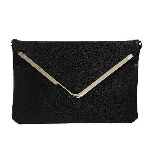 Shopping-et-Mode - Petite pochette de soirée noire enveloppe avec détails argentés - Pochette noire habillée - Noir, Simili-cuir