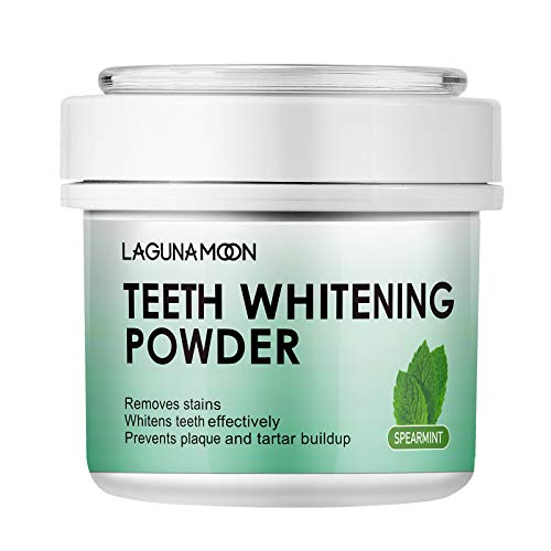Pearl Bright Teeth Whitening Powder by Lagunamoon, Remove Coffee Wine Tobacco Stains and Freshen Breath. No Damage to Enamel or Gum. No Black Mess Caused by Charcoal, 50g/1.76oz