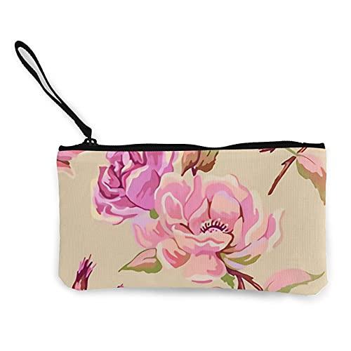 mengmeng Rose Repeat - Monedero de viaje rosa y caramelo con asa bolsa de lona con cremallera