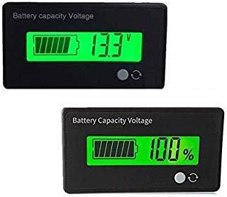 Battery Capacity Fuel Gauge Meter Monitor, HoneyCare Programmable Battery Level Voltage Meter Gauge 12V 24V 36V 48V 60V 72V 84V Lead Acid/3S-22S Cell Lithium Battery Meter (Green LCD Fuel Gauge)