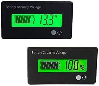 Battery Capacity Fuel Gauge Meter Monitor, HoneyCare Programmable Battery Level Voltage Meter Gauge 12V 24V 36V 48V 60V 72V 84V Lead Acid/3S-22S Cell Lithium Battery Meter (Green LCD Fuel Gauge)