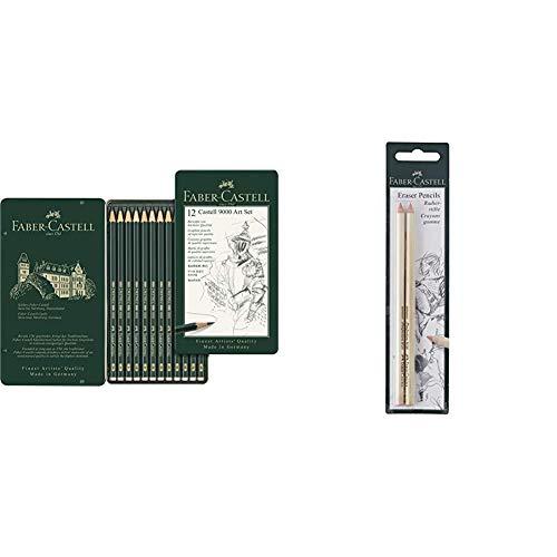 Faber-Castell 119065 Matita & Faber-Castell, Confezione Di 2 Gomme A Forma Di Matita, Per Cancellare Con Precisione