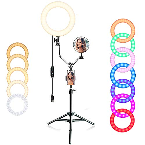 """EEIEER 10"""" RGB Ring Light with Stand, Video Conference Lighting, Dimmable Circle Light, Flash Light with Cell Phone Holder Desktop for Live Stream/Makeup/Video/Photography (Black, 10 inch)"""