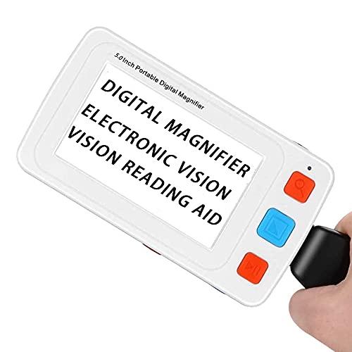 Lupa digital portátil de 5 pulgadas, ayuda de lectura electrónica de mano, pantalla LCD HD, lupa de 4 a 32 veces compatible con HDMI AV salida TV, ideal para lectura/escritura/visualización