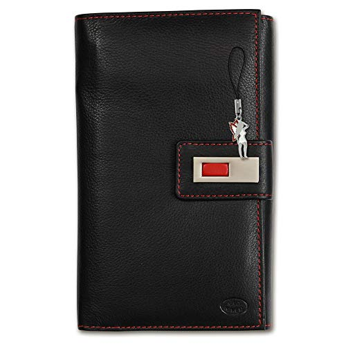 Old River Unisex Portemonnaie Geldbörse schwarz rot Leder 19x3x12cm OPD700S Leder Portemonnaie