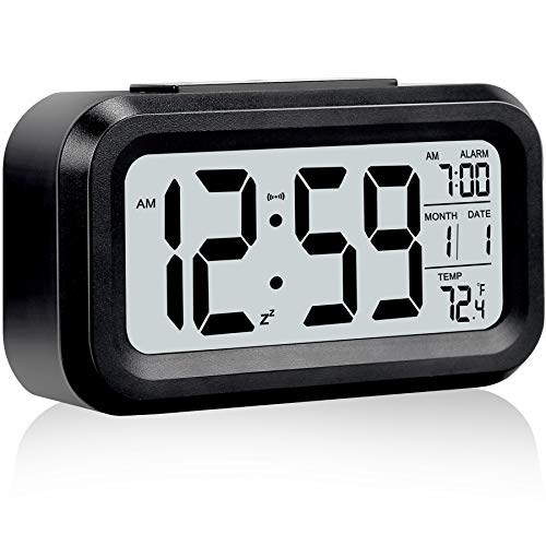 Digital Alarm Clock,Battery Operated Small Desk Clocks,with Date,Indoor Temperature,Snooze Function, LCD Electronic Clock for Bedroom Home Office - Dark Black