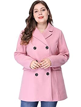 Agnes Orinda Women s Plus Size Notched Lapel Double Breasted Long Coat Pink 3X