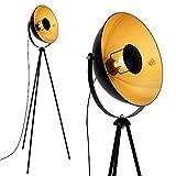 Briloner Leuchten LED Stehleuchte, Stehlampe, Studiolampe, Studioleuchte, Wohnzimmerlampe, Wohnzimmerleuchte, Max. 60W Vintage Lampe, Metall, E27, Schwarz-Gold-Matt, 160 x 72.3 x 160 cm