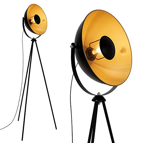 Briloner Leuchten - LED Stehleuchte, Stehlampe, Studiolampe, Studioleuchte, Wohnzimmerlampe, Wohnzimmerleuchte, Max. 60W Vintage Lampe, Metall, E27, Schwarz-Gold-Matt, 580x345x1480mm (LxDxH)