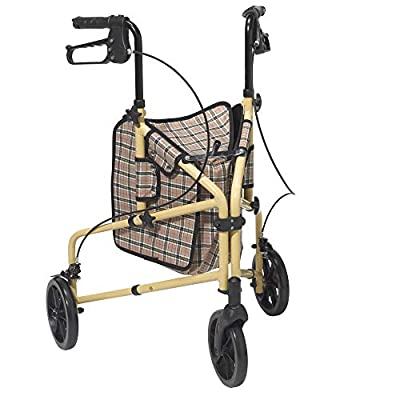 Drive Medical Winnie Lite Supreme 3 Wheel Rollator Rolling Walker, Tan Plaid