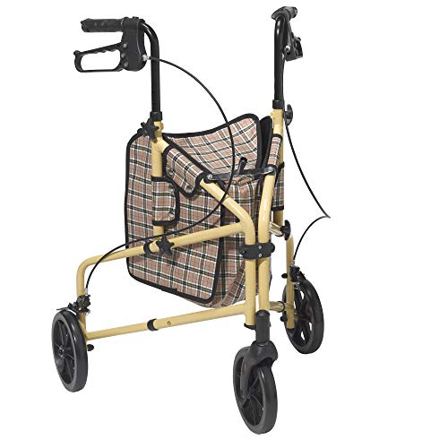 Drive Medical Winnie Lite Supreme 3 Wheel Rollator Rolling Walker, Tan Plaid