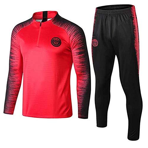YEFAN Trainingsanzug European Football Club Männer Fußball Sweatshirt Langarm Frühling und Herbst Breathable Sport Trainings-Uniform (Rot, S)