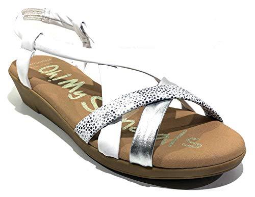 Oh! My Sandals - Sandalia 4673 en Color Blanco con Tiras tubulares de Piel, de cuña Baja, elástico al talón y Plantilla de Gel. (Blanco, Numeric_39)