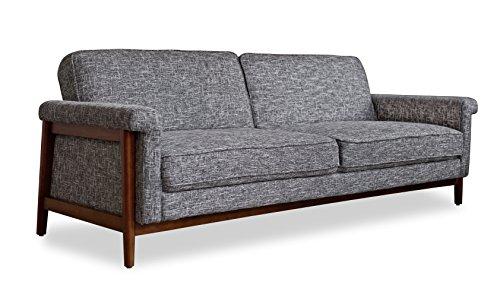 Edloe Finch Mid-Century Modern Futon Sofa Bed Sleeper, Grey
