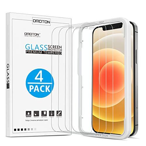 4 Stück OMOTON Schutzfolie kompatible mit iPhone 12 und iPhone 12 Pro 6.1 Zoll, mit Positionierhilfe, 9H Härte,Anti-Kratzen, Anti-Öl,Anti-Bläschen,Hülle Freundllich,2.5D Runde Kante
