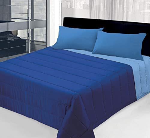 Colcha de 100 g de doble cara lisa para cama individual – 1 plaza y media – matrimonial (azul/celeste, individual)