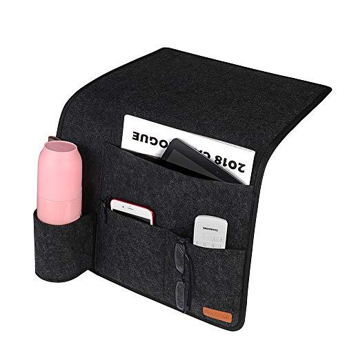 SIMBOOM Bett Tasche Bettablage zum Einhängen mit Flaschenhalter Anti-Rutsch Aufbewahrungstasche für Buch, Zeitschriften, iPad, Handy, Fernbedienung - Dunkelgrau