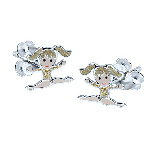 Sterling Silver Gymnastic Girl Earrings - Blonde Hair with Gold Leotard