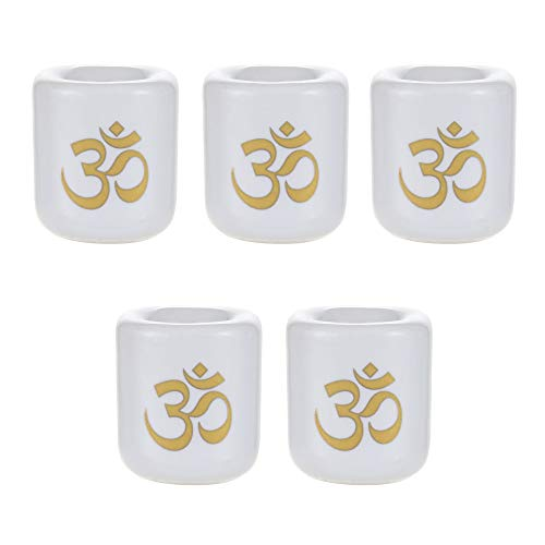 Mega Candles - 5 pcs Ceramic Gold Om Chime Ritual Spell Candle Holder - White