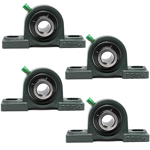 "PGN - UCP204-12 Pillow Block Mounted Ball Bearing - 3/4"" Bore - Solid Cast Iron Base - Self Aligning (4 Pack)"