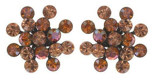 KONPLOTT Magic Fireball Classic Ohrstecker für Damen | Exklusive Designer-Ohrringe mit 32 Swarovski Steinen | Glamouröser Ohrschmuck zu jedem Anlass | Handgefertigter Damen-Schmuck | Orange/Braun