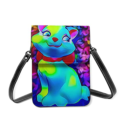 XCNGG Kleine Geldbörse Marie Cat Anime Cell Phone Purse Small Crossbody Bag Women Leather Mini Cell Phone Pouch Shoulder Bag to Carry Dexterous Convenience with Adjustable Strap Wallets