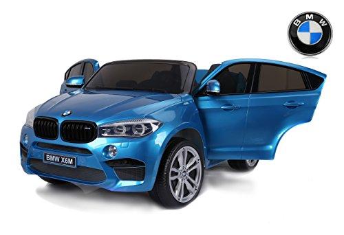 RIRICAR BMW X6 M Coche eléctrico para niños, 2 x 120W, Azul Pintado, Dos Asientos de Cuero, Licencia Original, con Pilas, Puertas de Apertura, Freno eléctrico