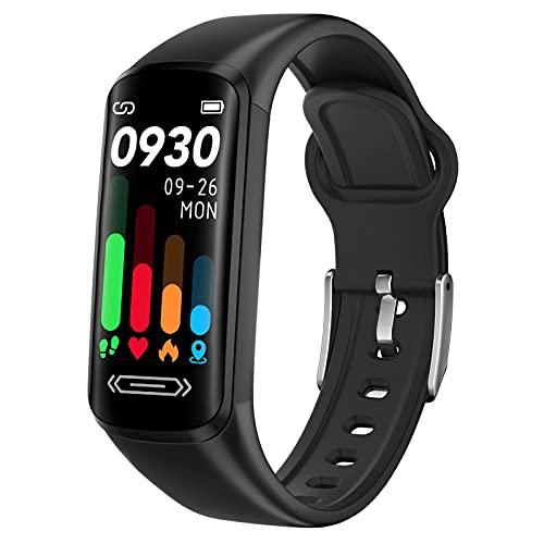 Montre Connectée, Tracker d'Activité Femmes Homme Bracelet Connecté Cardiofréquencemètre Bracelet Sport avec Cardio Podometre Fitness Tracker pour Android iOS