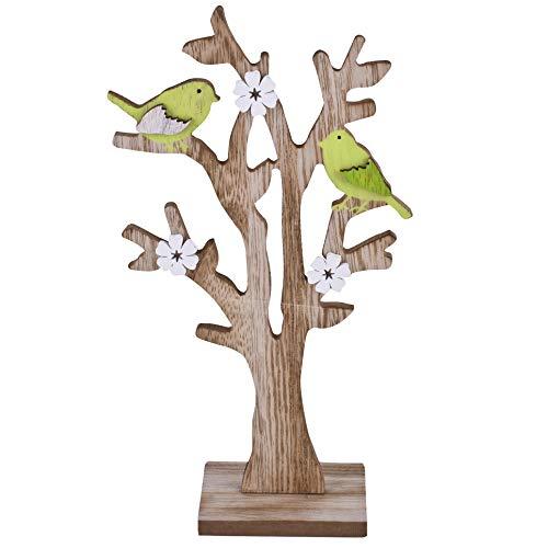 Dadeldo-Home Baum Birdy Deko-Objekt Holz 25x14x5cm Natur-grün