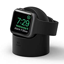 elago W2 Charger Stand Compatible with Apple Watch Series 7/6/SE/5/4/3/2/1 (45mm, 44mm, 42mm, 41mm, 40mm, 38mm), Nightstand Mode (Black)