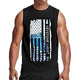MichaelFrance Man's Keystone Light American Flag Tank Vest Sleeveless Tee XXL Black