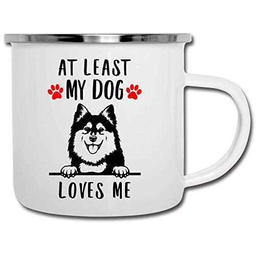 N\A Divertido Lapphund finlandés Que mira a escondidas al Menos mi Perro me ama esmaltado Camper Mug 11oz