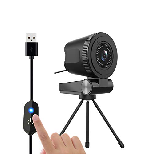 HXCH Con soporte para trípode, cámara web 4K de enfoque fijo Full HD con interruptor táctil USB, compatible con PC, ordenador portátil, para videollamadas en línea, clase de conferencias Recor