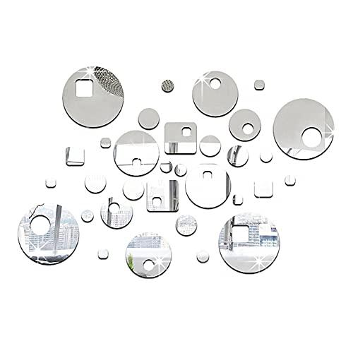 Tingz 32 pezzi Adesivo Specchio Rotondo Rotondo Cerchio Specchio Adesivo Parete Specchio Decal Fogli autoadesivi Cerchio Casa Decorazione Per soggiorno camera da letto sfondo decorazione della