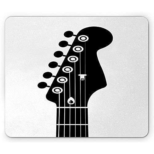 Gitarren-Mausunterlage,Einfarbige Art-Interpretation Einer Halben Gitarre Mit Schnur-Schnüren,Rutschfestes Gummi-Mousepad des Rechtecks