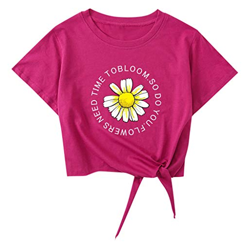 Damen Sommer Tops Rundhals T-Shirt Kurzarm Blusen Brief Pflanze Modedruck Casual Tunnelzug Knoten Kurzes Oberteil