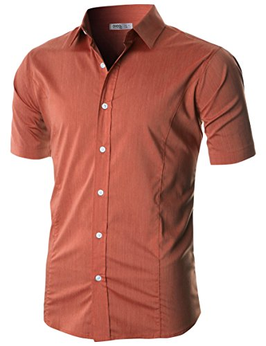 Ohoo Mens Slim Fit Long Sleeve Flexibility Casual Button Down Shirt Added Darts/DCC003-COBALTBLUE-2XL/US XL