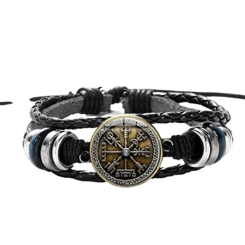 Viking Compass - Pulsera de cuentas de madera multicapa para hombre, estilo casual y de moda trenzada, pulseras de cuero estilo punk retro